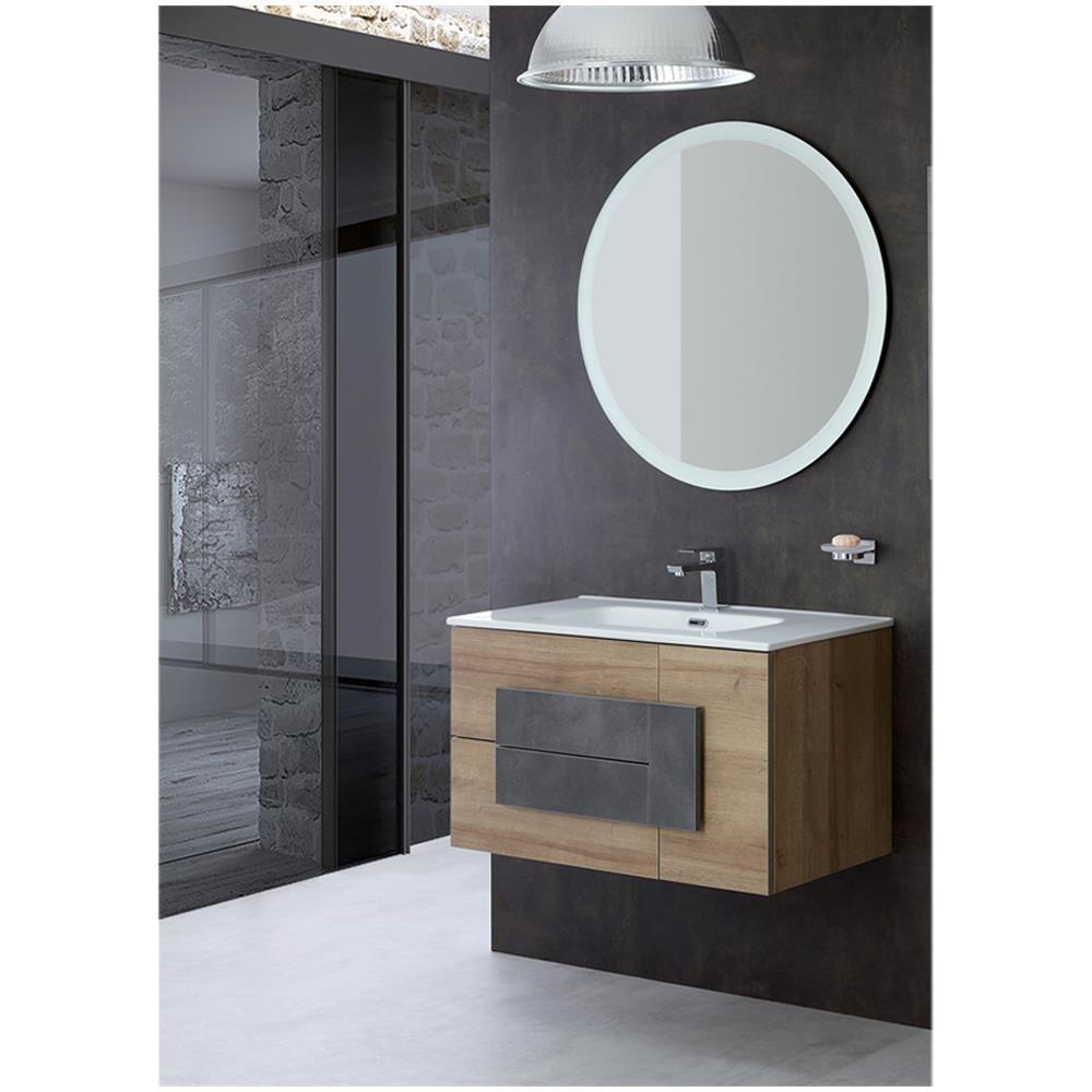 Specchio Bagno 80.Feridras Mobile Bagno Sospeso 80 Cm Specchio Tondo Lavabo Ceramica Moderno 80400 Eprice
