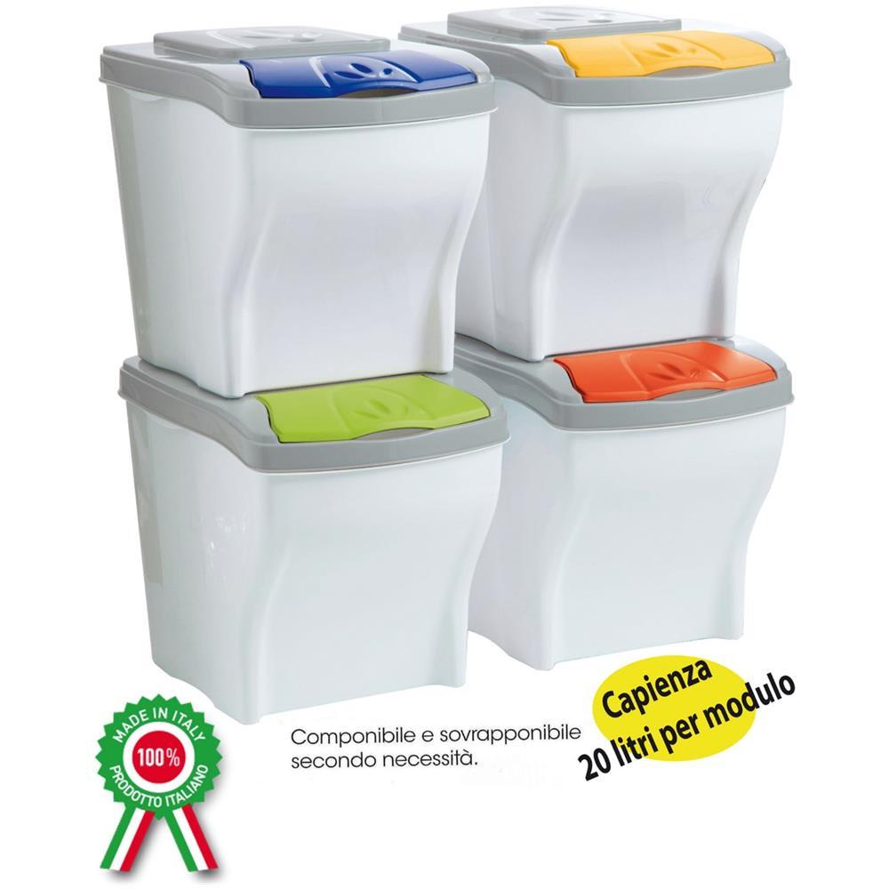 Cestini Raccolta Differenziata Casa sf savino filippo contenitori componibili per raccolta differenziata 4pz x  20lt