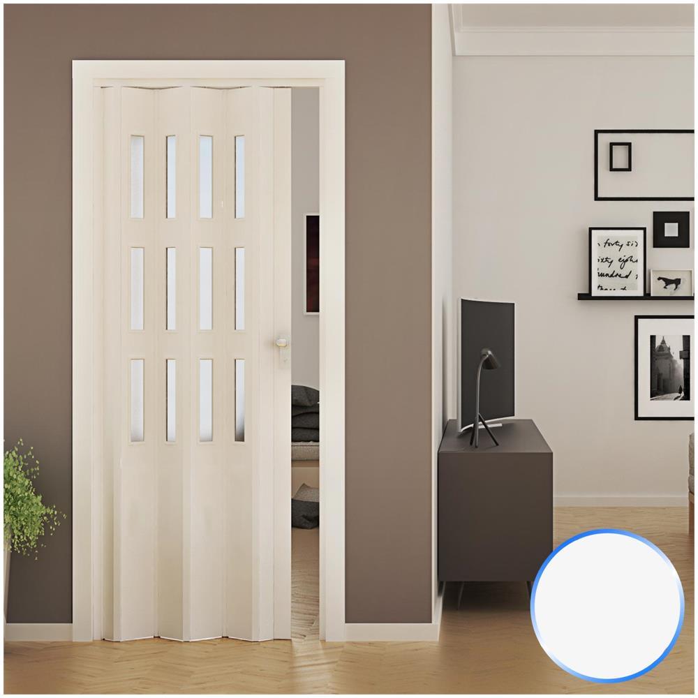 Porte Con Vetro Satinato forte porta a soffietto da interno in pvc bianca vetro satinato 88,5x214 cm  mod. luciana