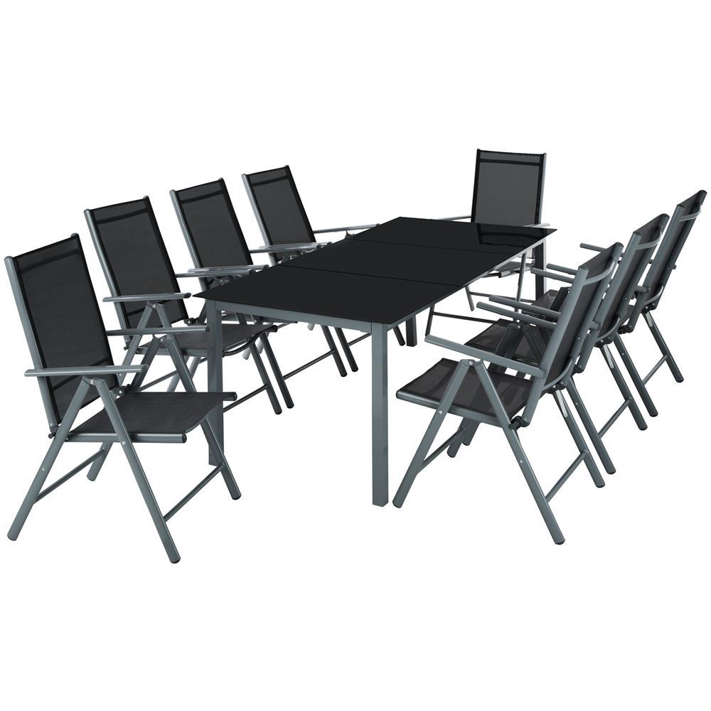 Tectake Set Di Sedute E Tavolo In Alluminio 8 1 Grigio Scuro Eprice