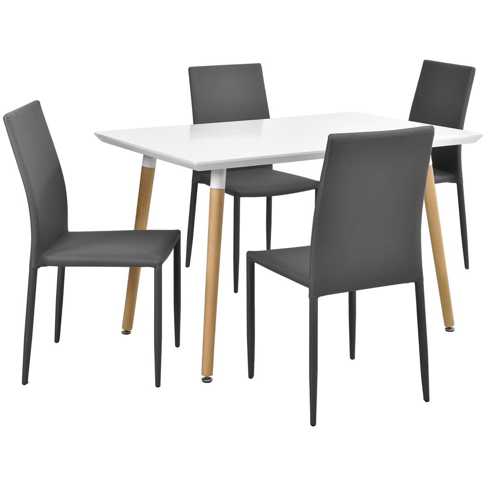 en.casa]® - Tavolo Da Pranzo Bianco Opaco Con 4 Sedie Grigie Chiare ...