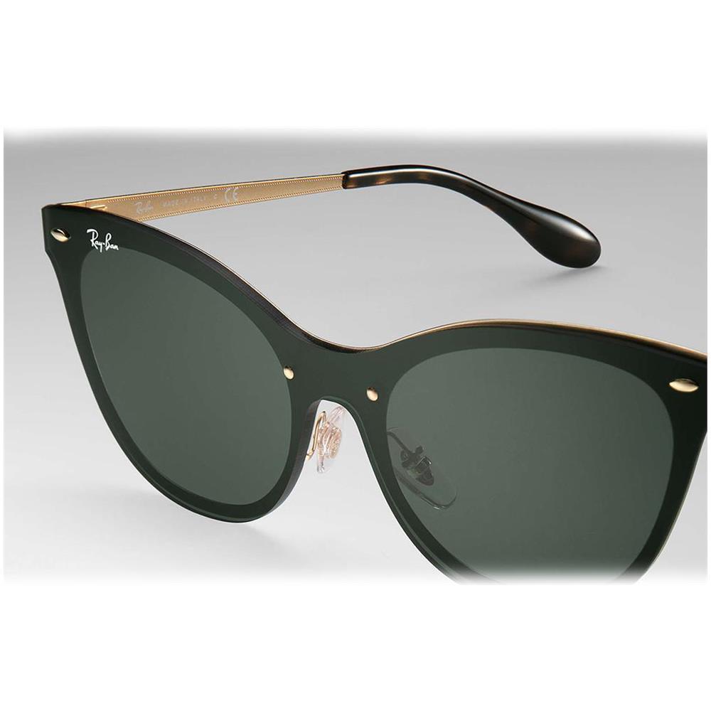 f544cd6a9b575 RAY-BAN Blaze Cat Eye - Color Nero   oro - Lenti Verdi - Rb3580n 043 71