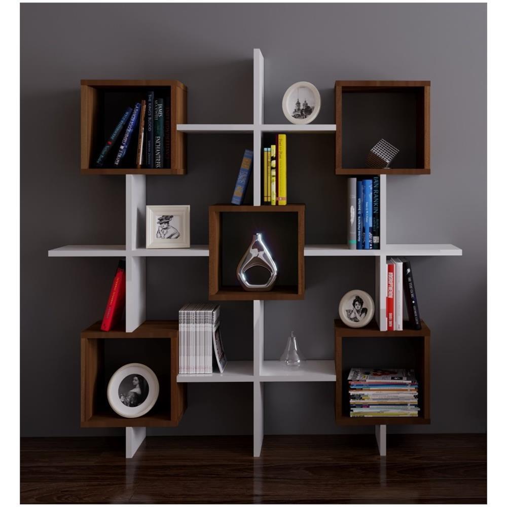 HOMIDEA - Royal Libreria - Bianco / Noce - Scaffale Per Libri ...