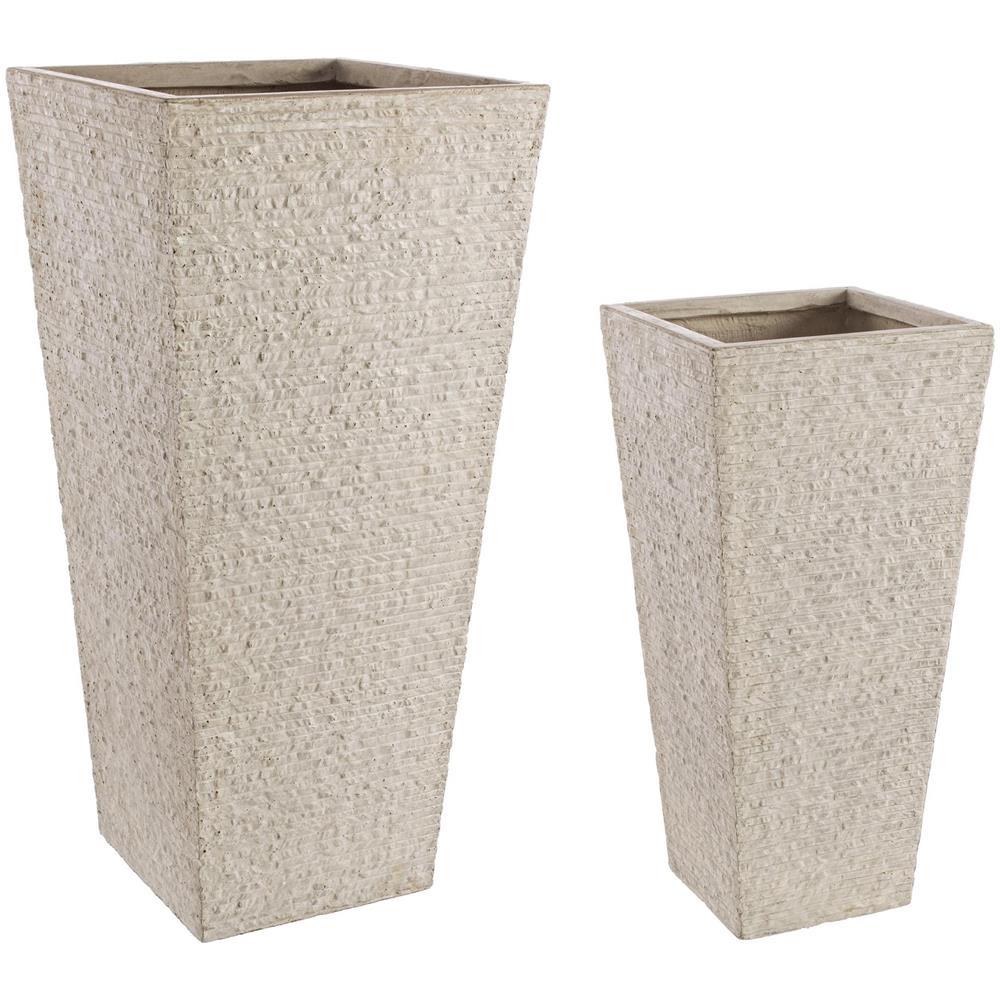 Vasi Da Giardino Colorati bizzotto set 2 vasi da esterno roccia alti