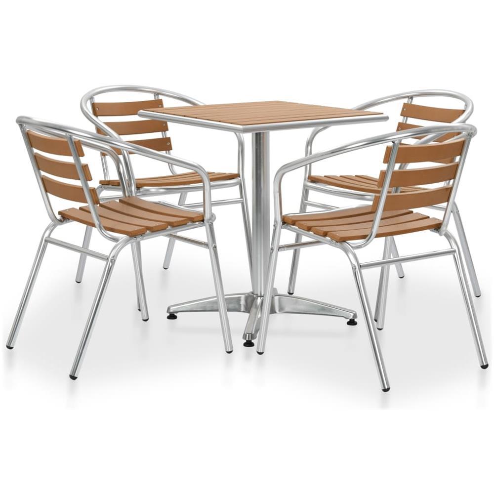 Tavoli E Sedie Alluminio Per Bar.Vidaxl Set Tavolo E Sedie Da Giardino 5 Pz In Alluminio E Wpc