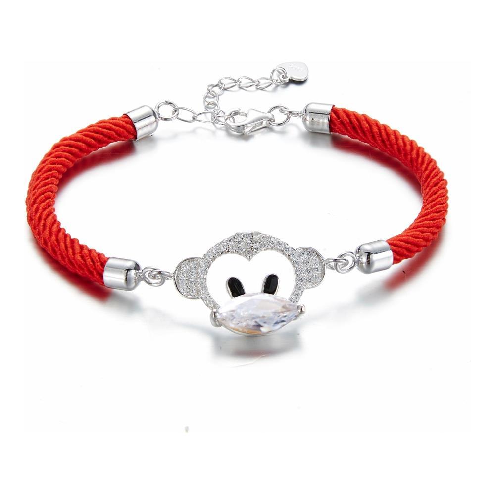 4885861ad91f06 Blue Pearls - Bracciale Scimmia Di Cristallo Swarovski Element Bianco E  Cordone Rosso - Cry E193 J - ePRICE