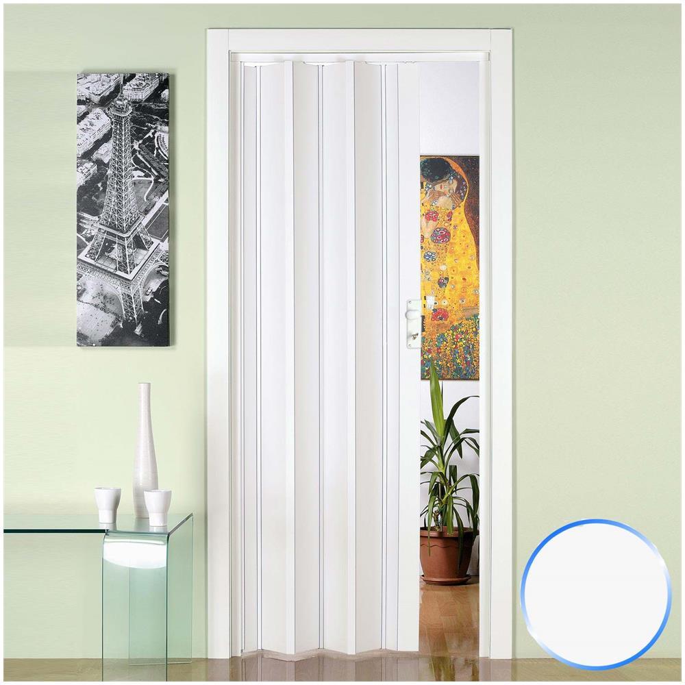 Porta A Soffietto Bianca forte porta a soffietto da interno in pvc bianca 88,5x214 cm mod. luciana