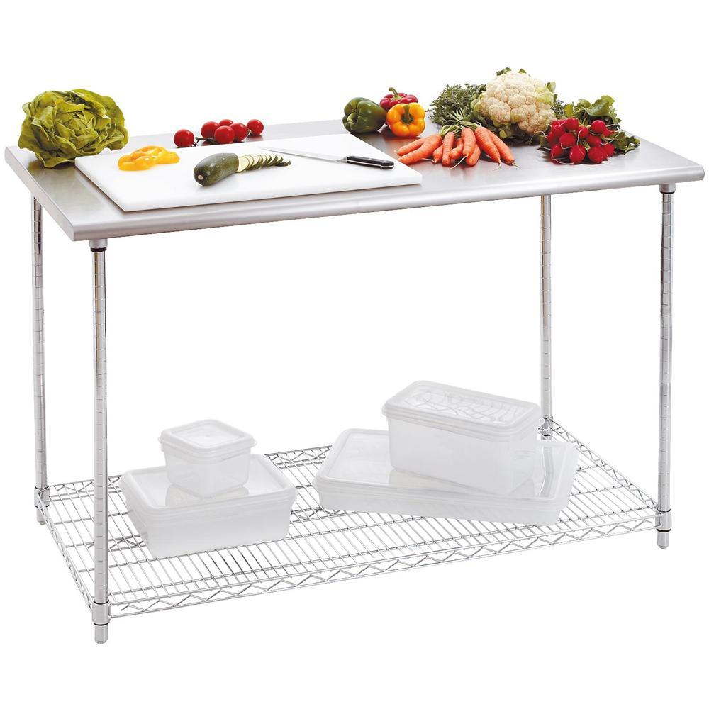 Bartscher - 601152 Tavolo da lavoro per cucina 120x60 H88-90 cm ...