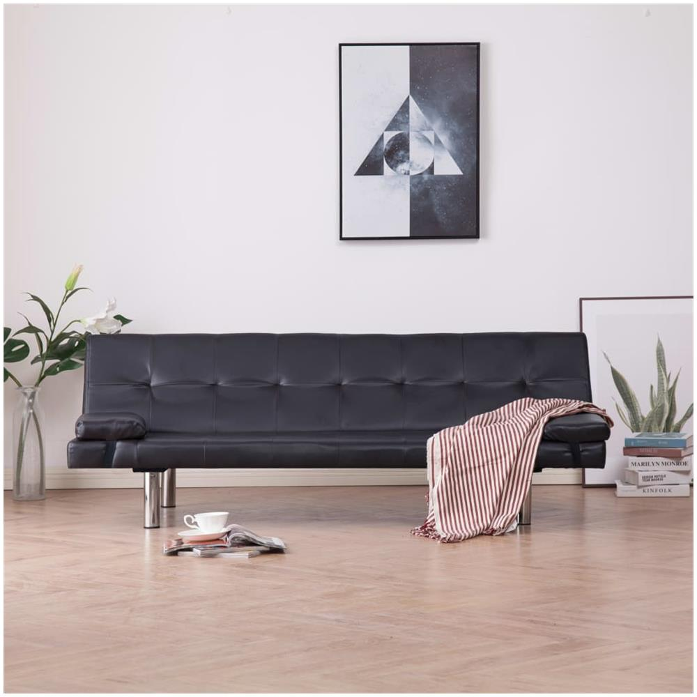 Cuscini Su Divano Marrone vidaxl divano letto con 2 cuscini marrone in similpelle
