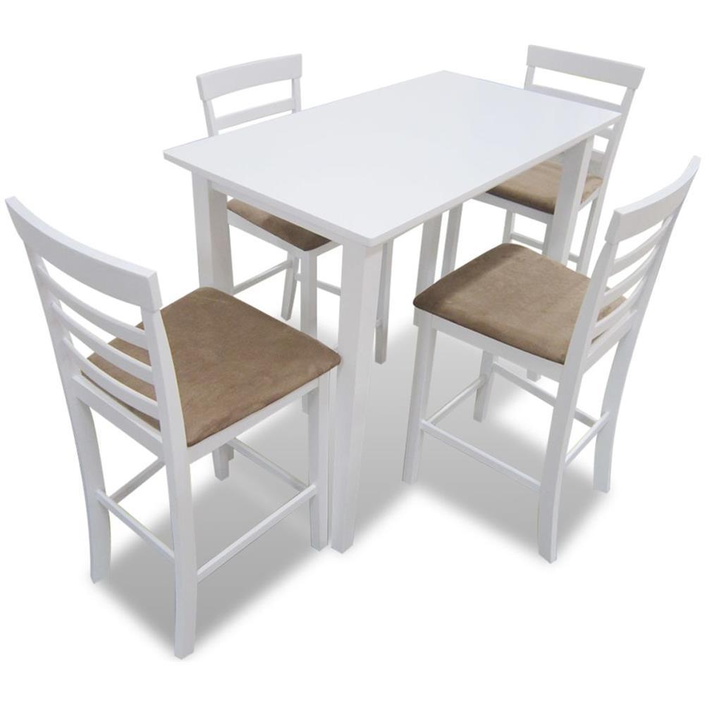 Vidaxl Set Tavolo Da Bar In Legno Bianco E 4 Sedie Eprice
