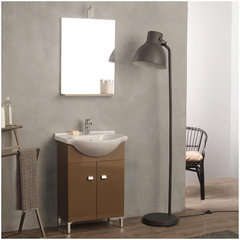 kiamami valentina mobiletto bagno a terra con lavabo e specchio 58 cm cappuccino easy eprice. Black Bedroom Furniture Sets. Home Design Ideas