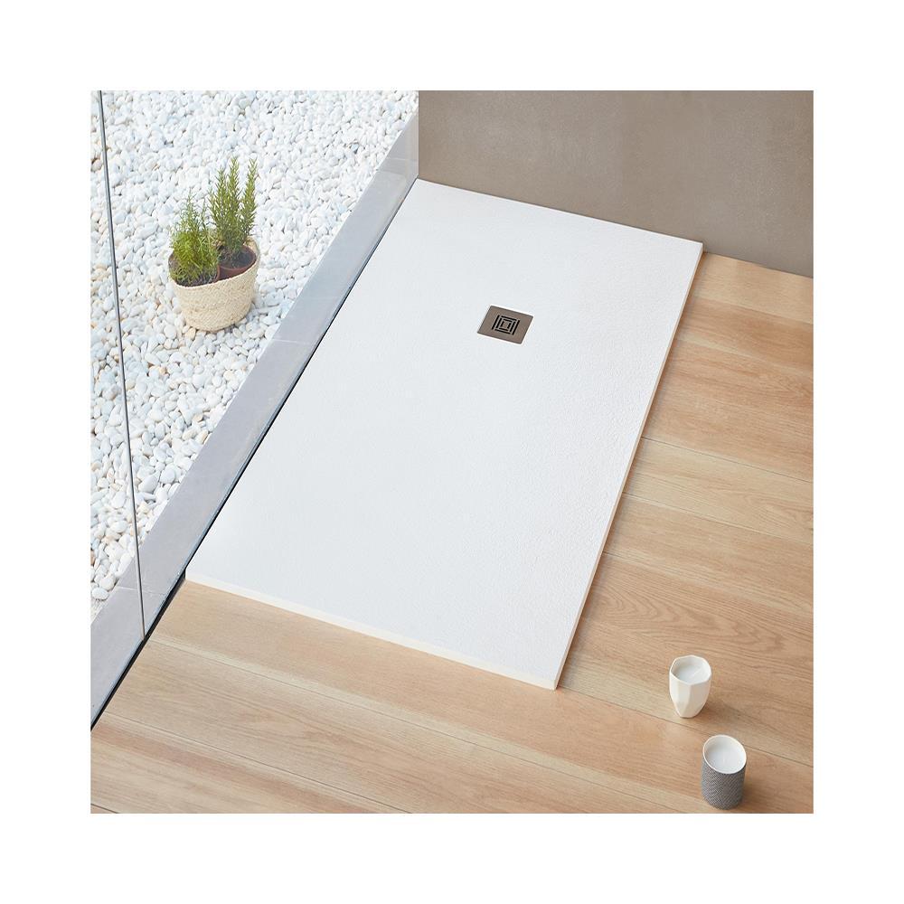 Piatto Doccia Brico.Forma Aquae Piatto Doccia Effetto Pietra Stone Resina Gelcoat Bianco Ribassato 80x130 Kyma