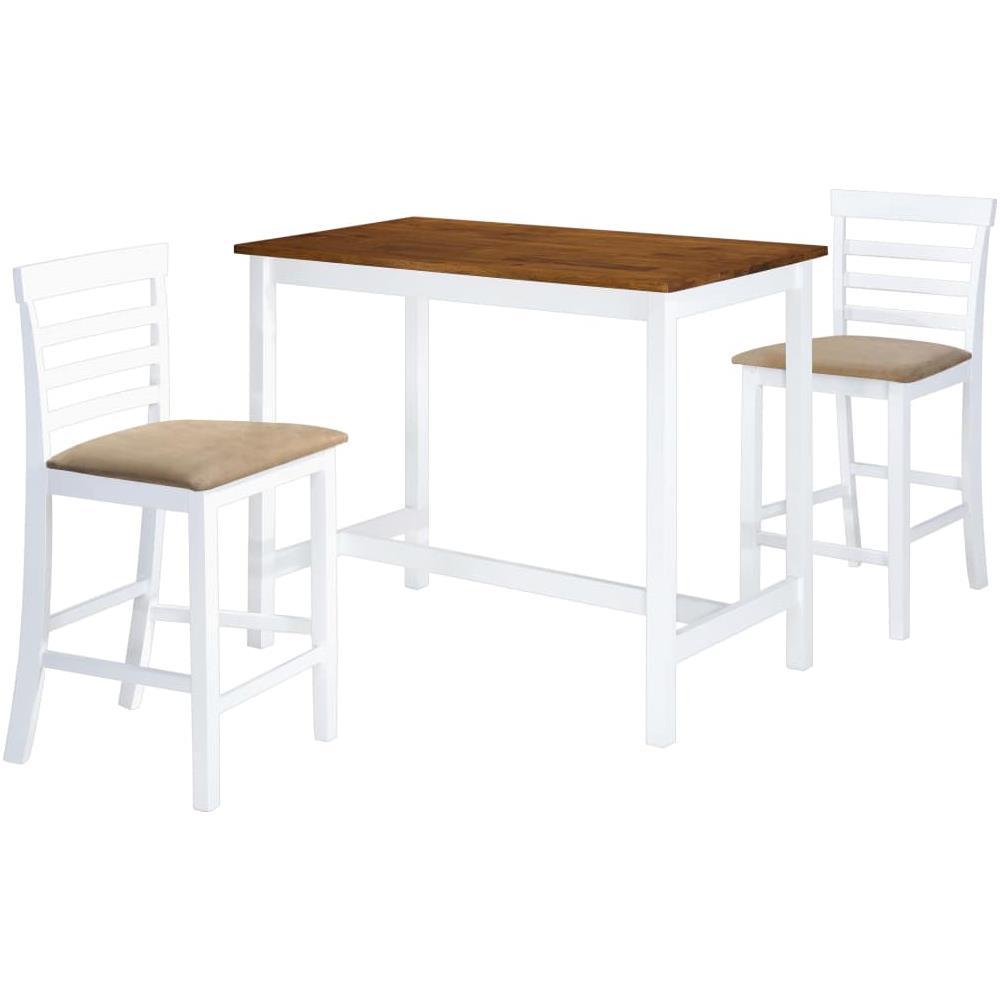 Sedie Per Tavolo Legno Massello vidaxl set tavolo e sedie da bar 3 pz legno massello marrone e bianco