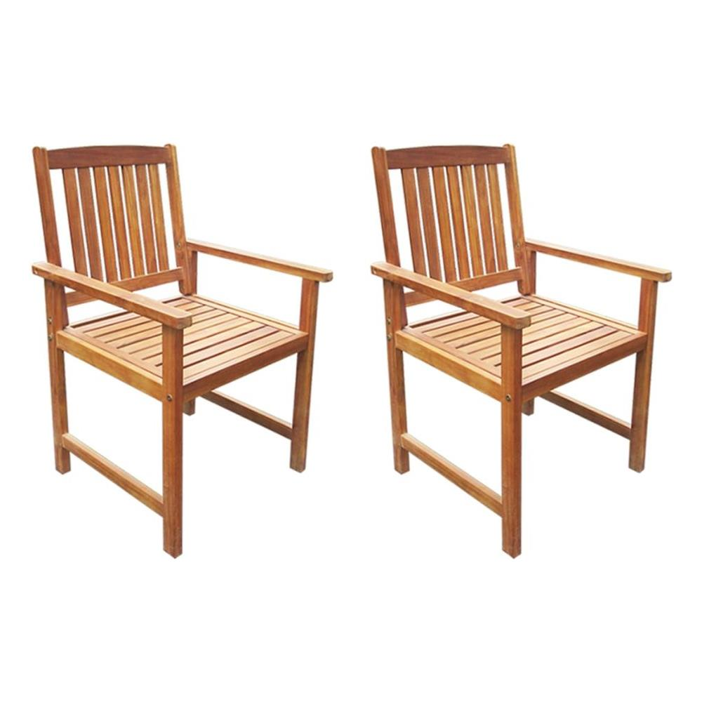 Sedie Da Esterno In Legno.Vidaxl Sedie Da Giardino 2 Pz In Legno Massello D Acacia Marrone