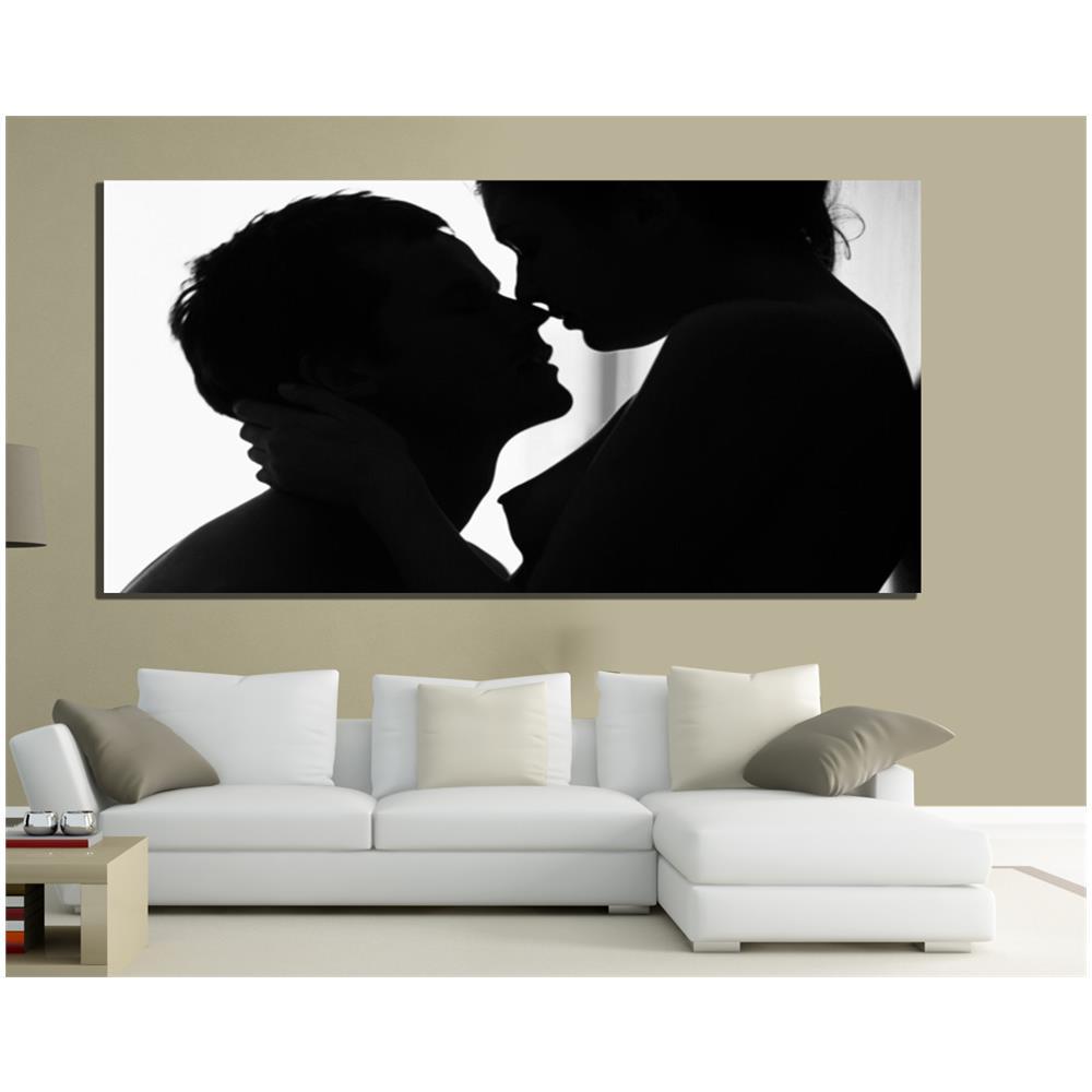 PIXEL COMUNICAZIONE - Quadri Moderni Tela 100x50 Amore Love Bianco E ...