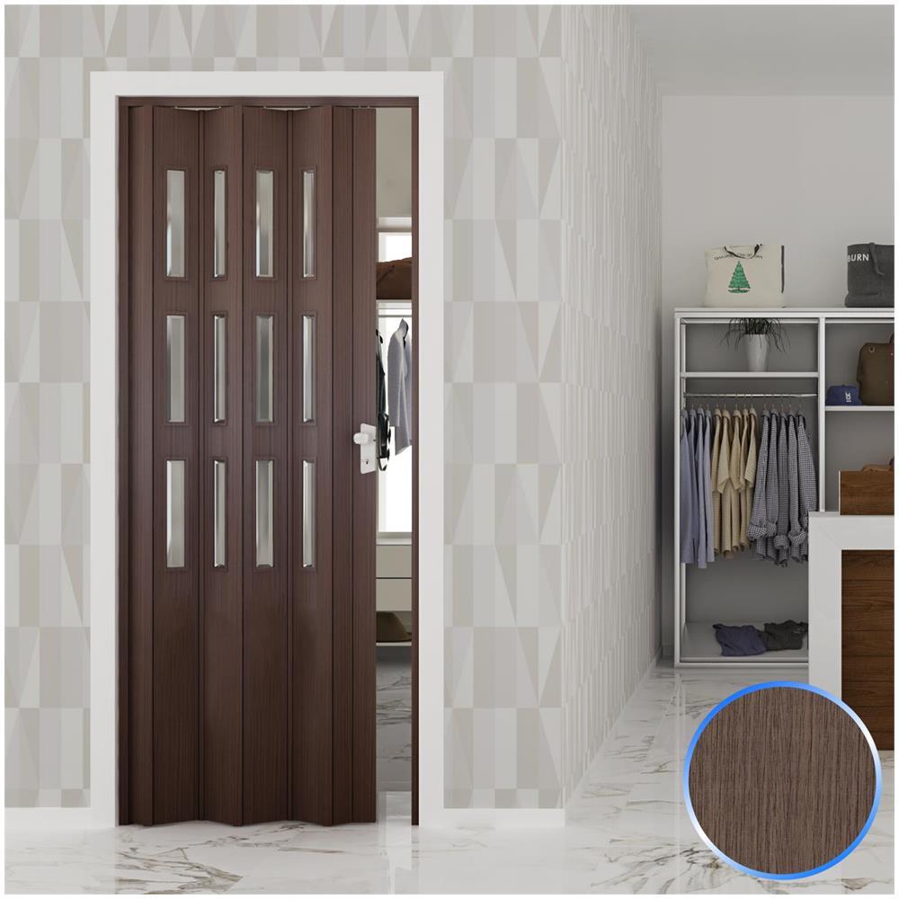 Porte Con Vetro Satinato forte porta a soffietto da interno in pvc rovere tortora vetro satinato  88,5x214 cm mod. luciana