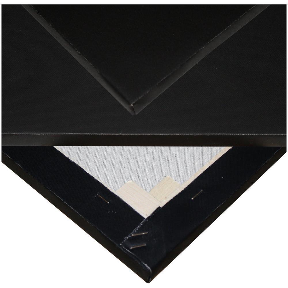 Niik Tele Tela Pittorica in Cotone Nero 20 x 30 x 1,7 cm con Graffe Posteriori Nera da Dipingere per Pittori Pittura Telaio Telato alla Francese