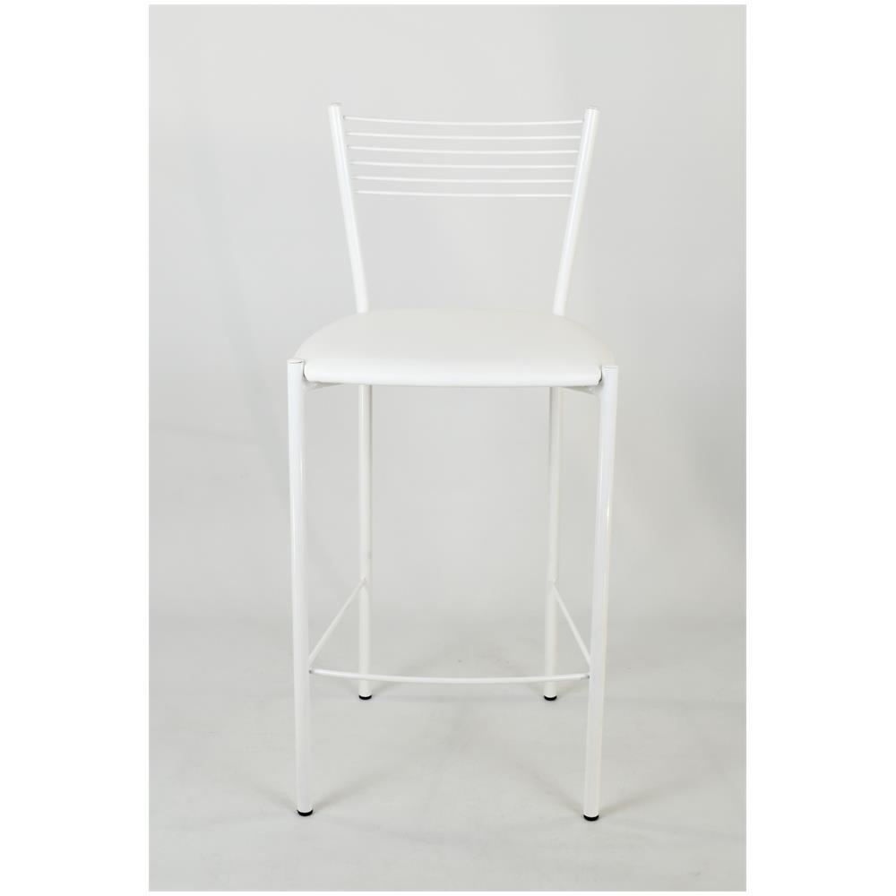 Set 2 sgabelli alti modello Elegance per cucina e bar Tommychairs struttura in acciaio verniciata colore bianco e seduta imbottita e rivestita in pelle artificiale colore bianco