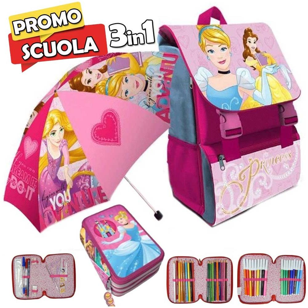 42cd4677c9 TrAdE shop Traesio® - Zaino Scuola Estensibile Disney Princess Kit Completo  Ombrello E Astuccio 3 Zip - ePRICE