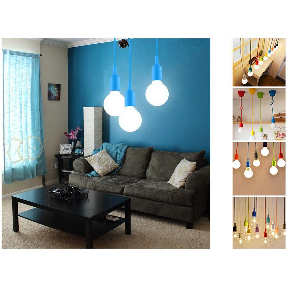 Lampadari Per Casa Al Mare bes portalampada a sospensione pendente lampadario soffitto e27 blu col-01  tipo 4 pz