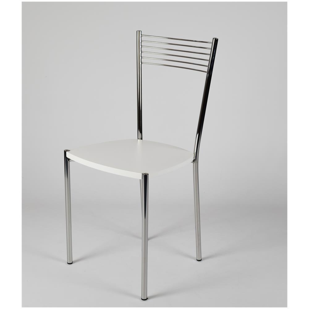 Set 4 Sedie.Tommychairs Set 4 Sedie Per Cucina E Sala Da Pranzo Moderne Con Robusta Struttura In Acciaio Cromato E Seduta In Legno Color Bianco Set Composto Da