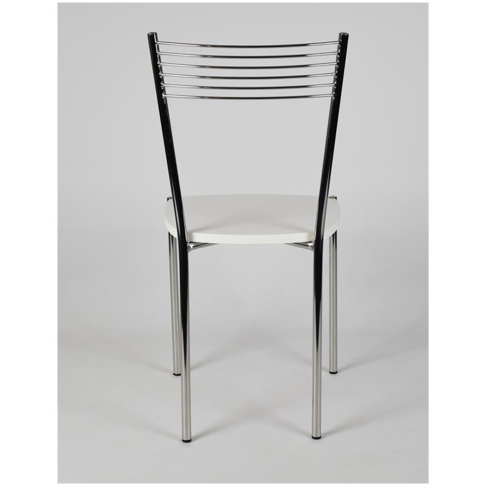 Tommychairs Set 4 Sedie Per Cucina E Sala Da Pranzo Moderne, Con Robusta Struttura In Acciaio Cromato E Seduta In Legno, Color Bianco. Set Composto Da