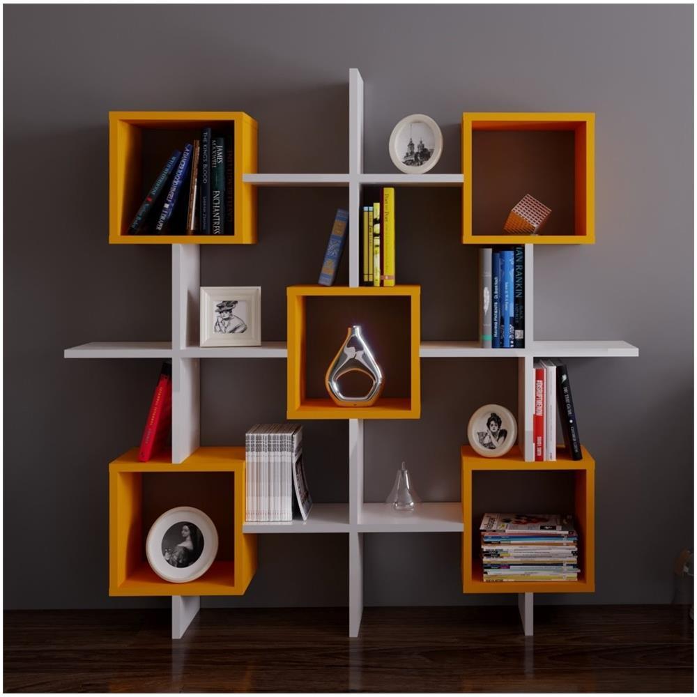 HOMIDEA - Royal Libreria - Bianco / Arancione - Scaffale Per Libri ...