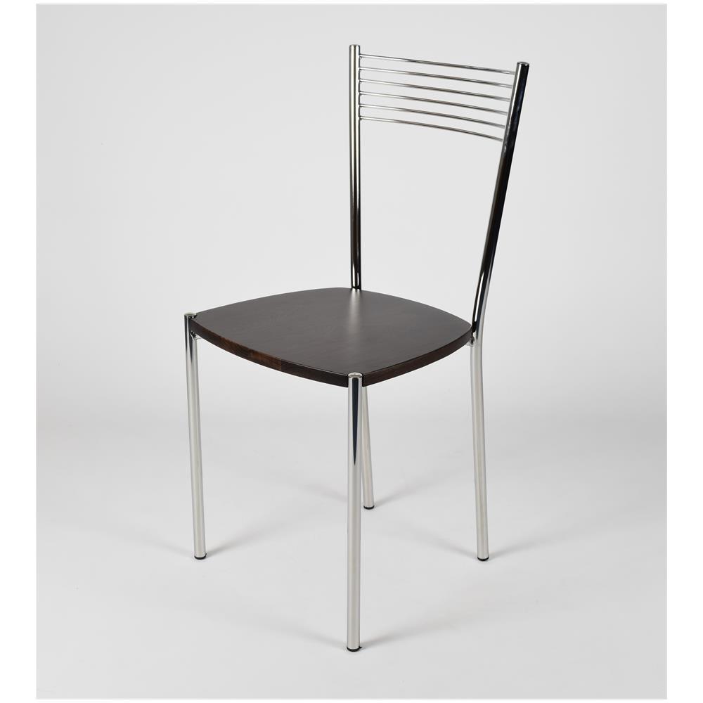 Tommychairs Set 4 Sedie Per Cucina E Sala Da Pranzo Moderne, con Robusta  Struttura In Acciaio Cromato E Seduta In Legno, Color Wengé. Set Composto  Da ...