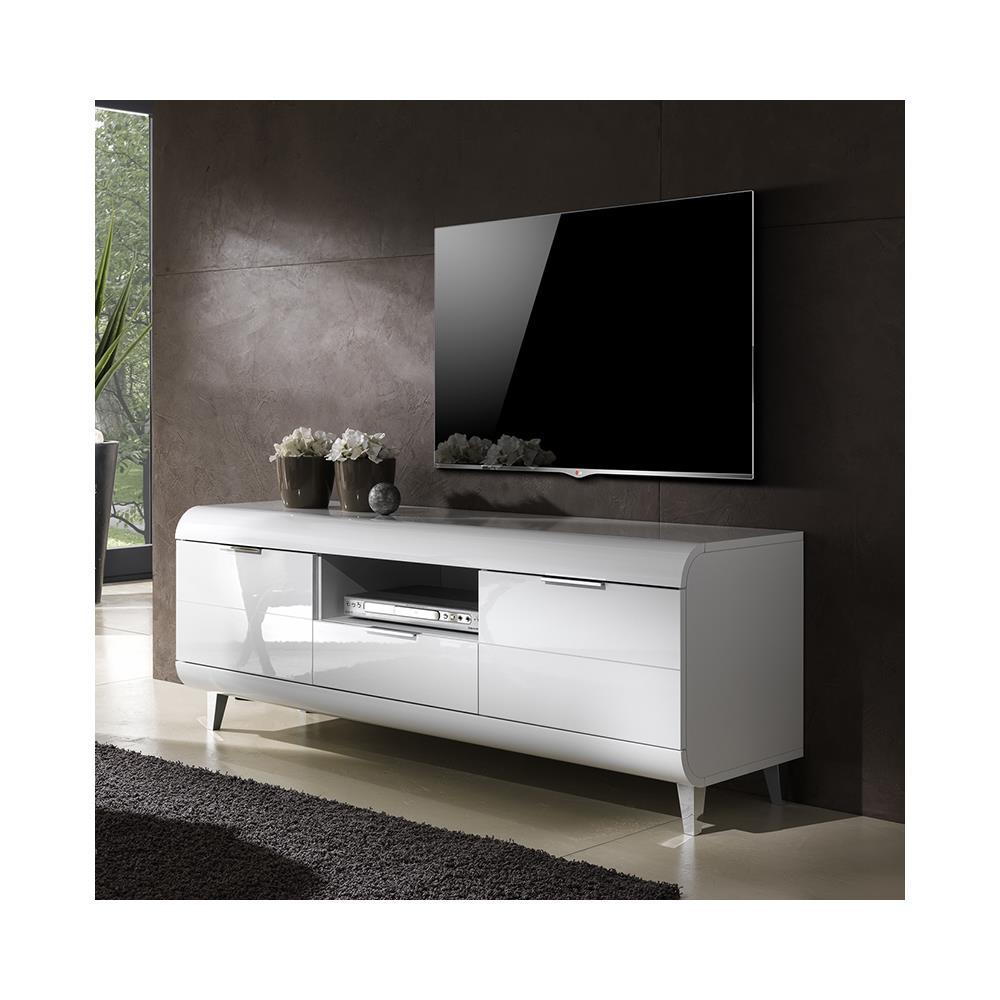 Porta Tv Bianco Lucido.Web Convenienza Vega Porta Tv 2 Ante 1 Cassetto Bianco Lucido