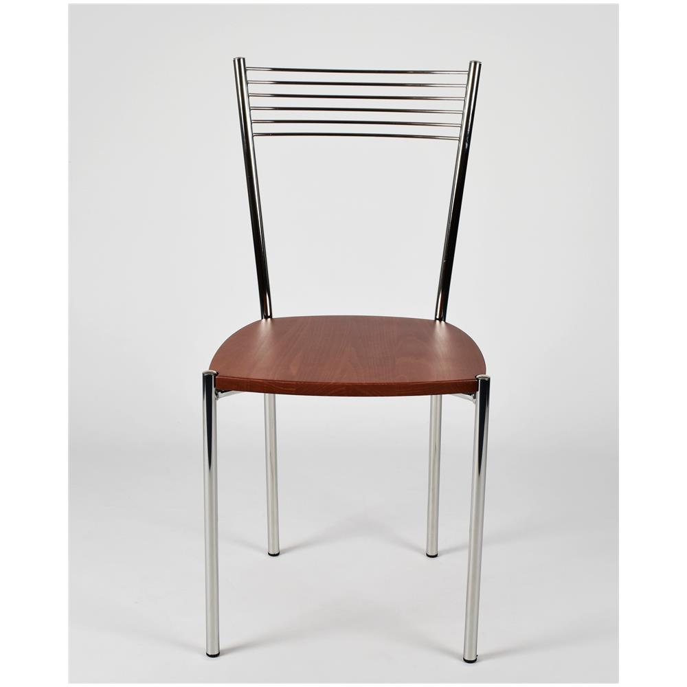 Sedie Moderne Legno E Acciaio.Tommychairs Set 4 Sedie Per Cucina E Sala Da Pranzo Moderne Con Robusta Struttura In Acciaio Cromato E Seduta In Legno Color Ciliegio Set Composto