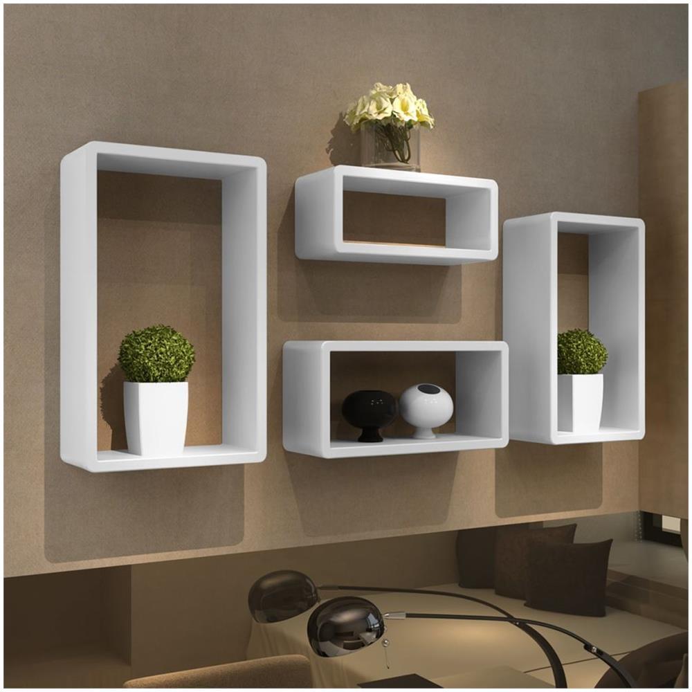 Mensole Quadrate Design.Vidaxl Set Bianco 4 Mensole Cubo