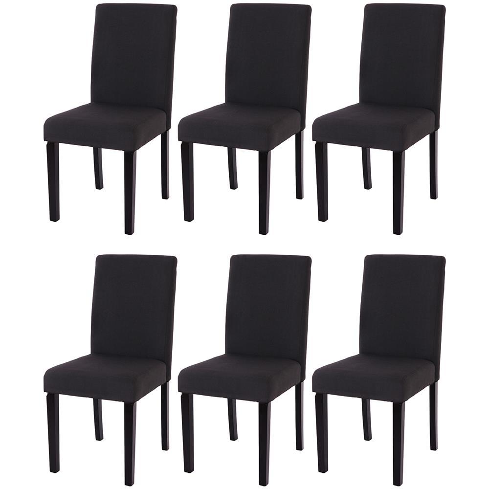 Mendler Set 6X sedie Littau Tessuto per Sala da Pranzo 43x56x90cm Grigio Piedi Color Rovere