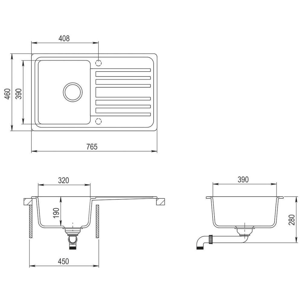 Misure Lavello Cucina Una Vasca.Vidaxl Lavandino Cucina Granito Lavello Singolo Scolapiatti Reversibile Nero Eprice