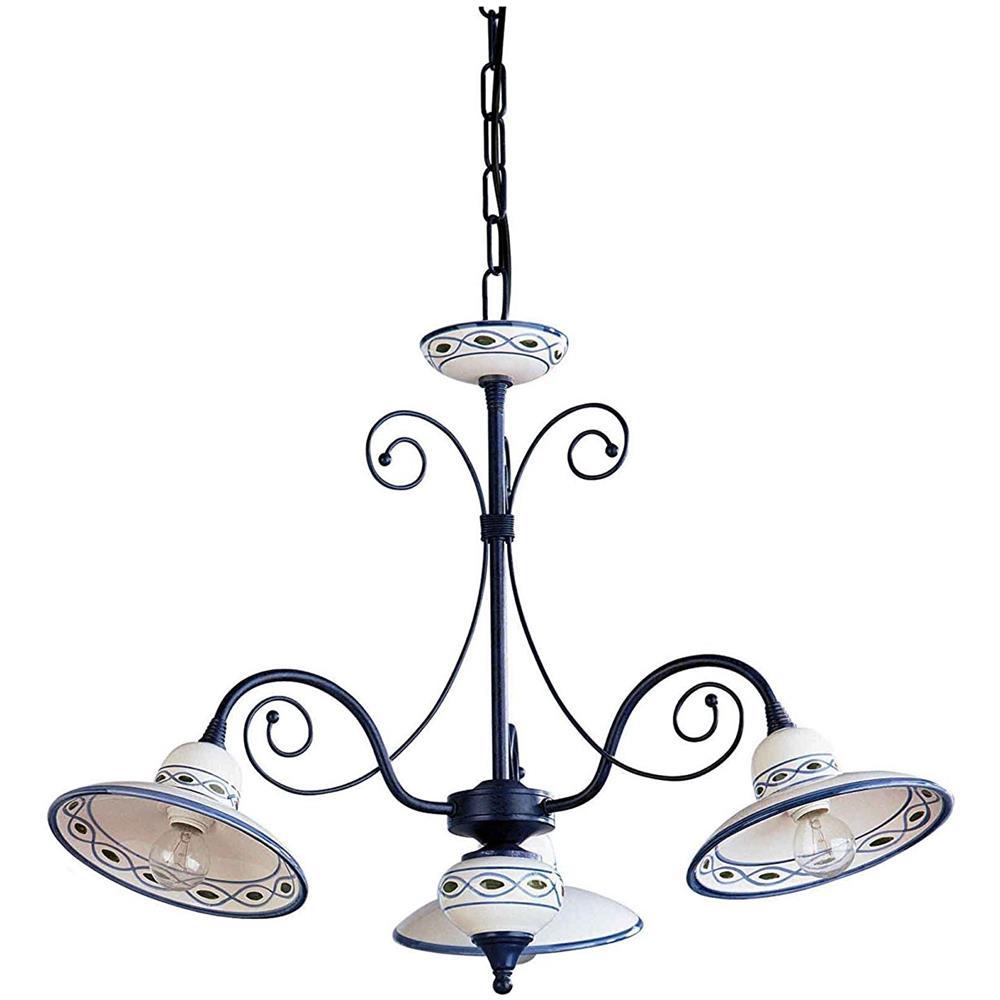 Lampadari In Camera Da Letto la luce del futuro lampadario in ceramica blu artigianale italiana decorata  a mano 3 luci per cucine tavernette camera da letto - 100% made in italy