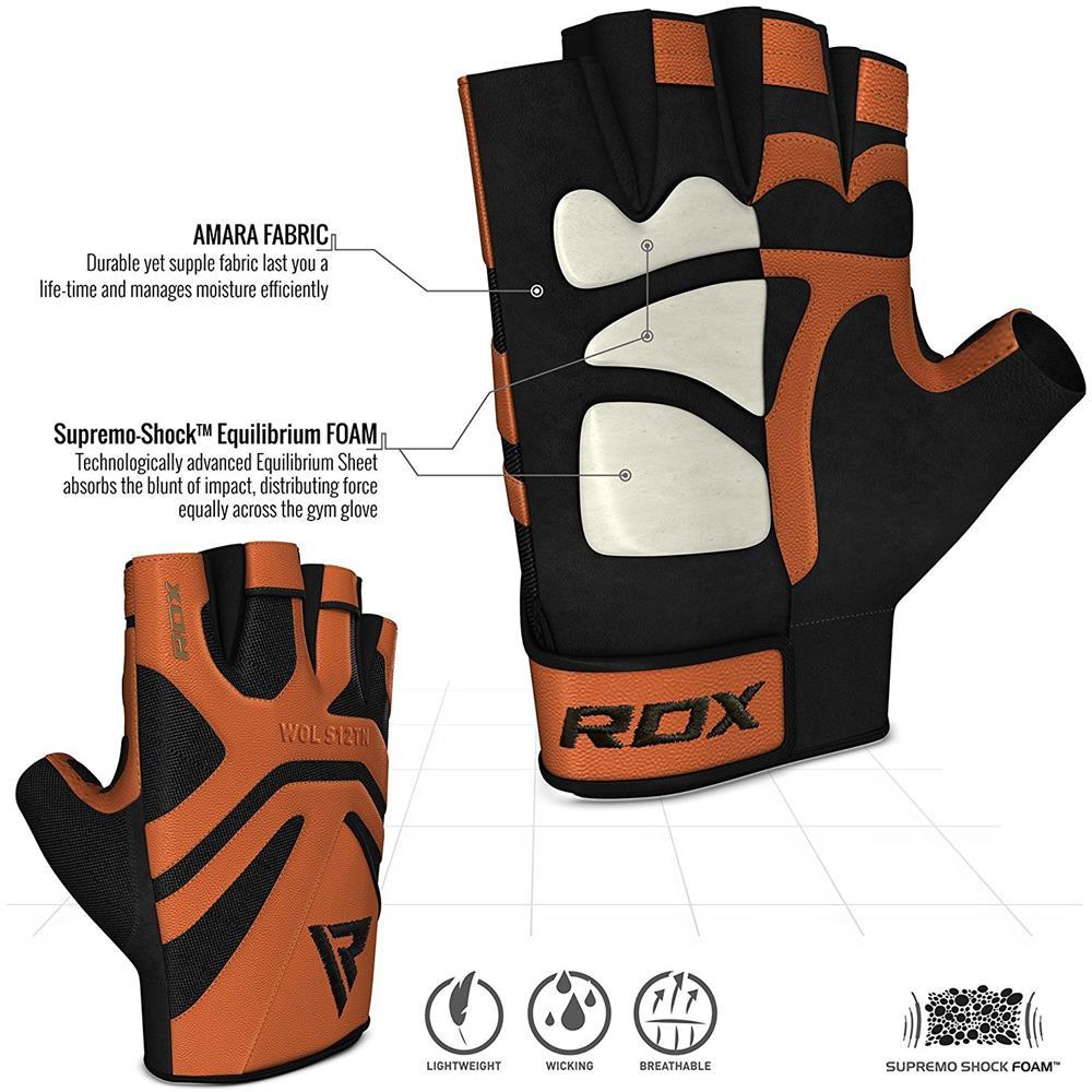 RDX Guanti Palestra Pelle Fitness Sollevamento Pesi Allenamento Workout Antisudore Bodybuilding Antiscivolo Polso Imbottiti Powerlifting Gym Gloves