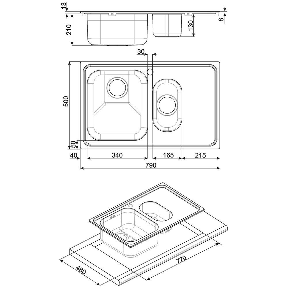 SMEG Lavello SP7915D-2 2 Vasche Dimensioni 34 x 40 cm Colore Inox Serie Alba