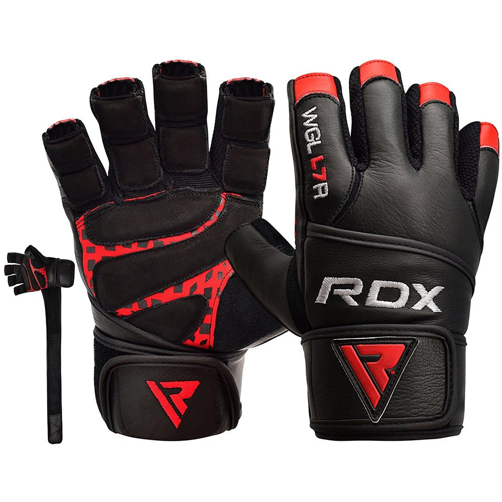 RDX - Guanti Palestra Pelle Fitness Lunghi Polso Crossfit ... f9cf8cc05af0