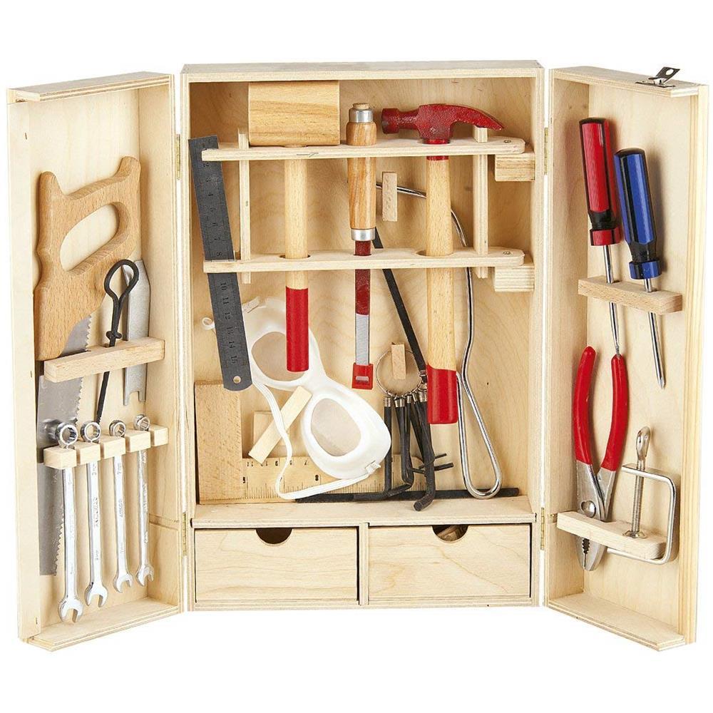 leomark - cassetta degli attrezzi set di strumenti scatola di legno