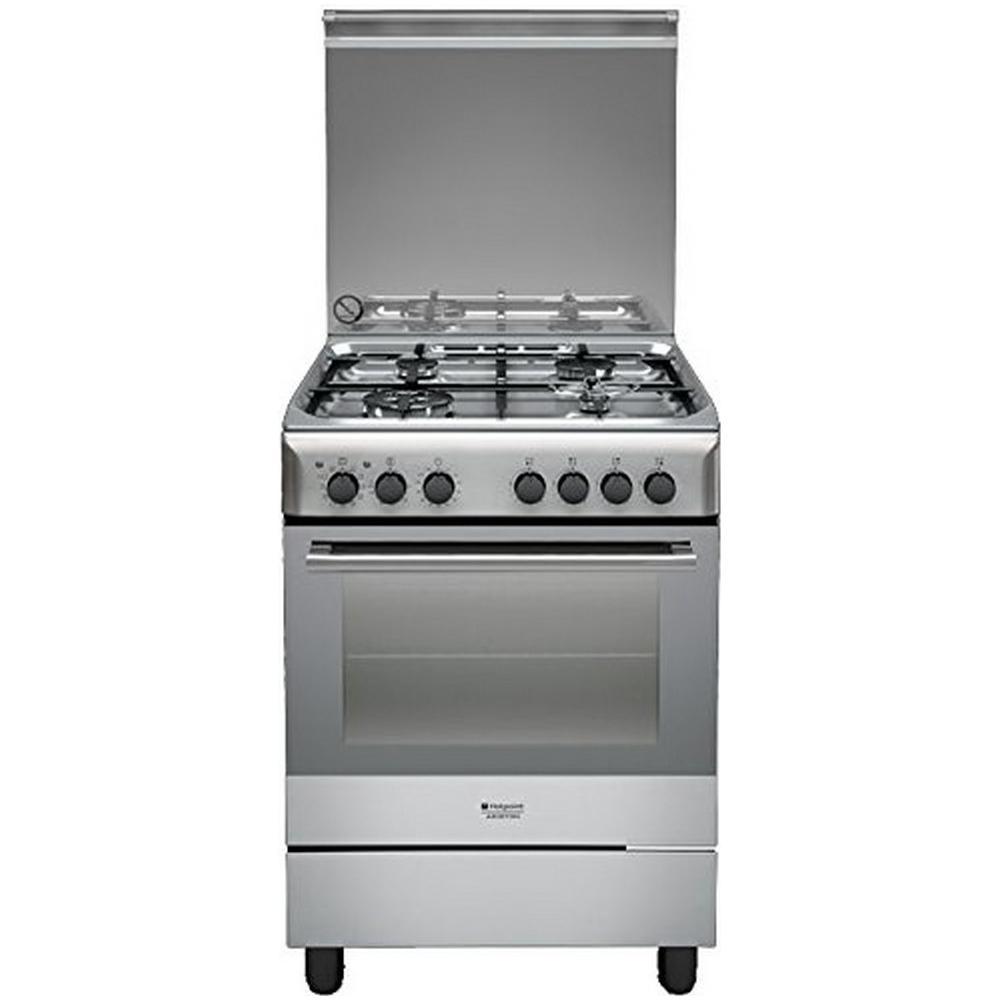 HOTPOINT Cucina Elettrica H6TMH2AF X IT 4 Fuochi a Gas Forno Elettrico  Ventilato Dimensione 60 x 60 cm Colore Inox