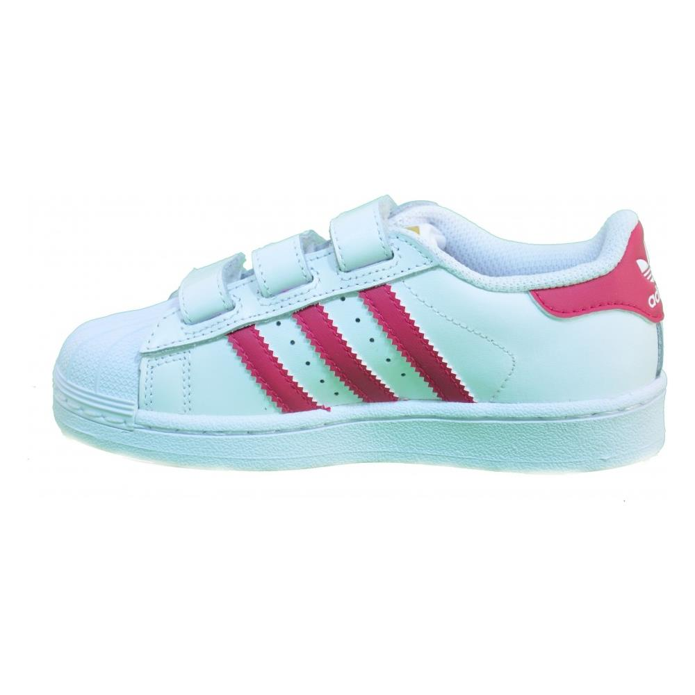 Adidas Superstar Foundation Cf C Scarpe Bambina Bianche Pelle Strappi B23665 34
