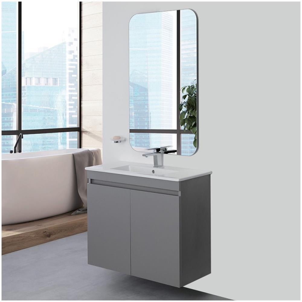 Feridras Mobile Bagno Sospeso 80 Cm Slim Grigio Due Ante Lavabo Specchio  Moderno