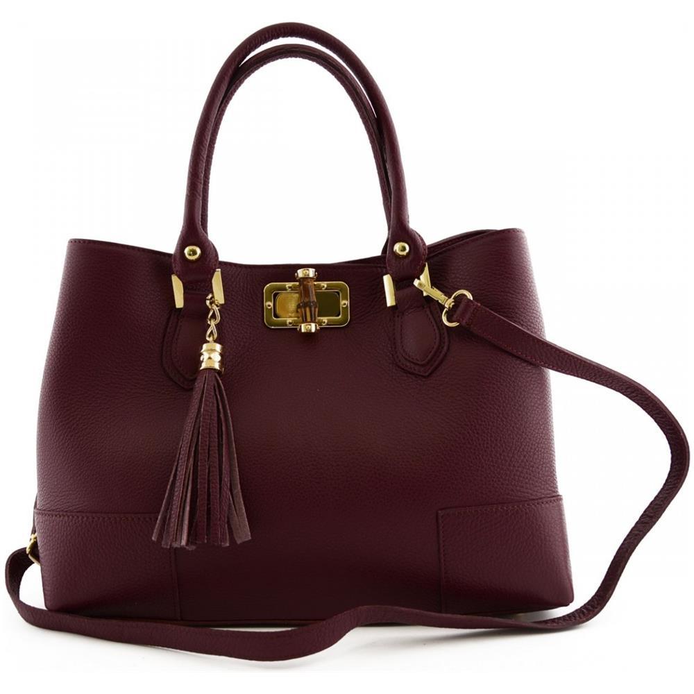 Dream Leather Bags Borsa Per Donna A Mano Con Accessorio In Pelle Colore Viola Pelletteria Toscana Made In Italy Borsa Donna