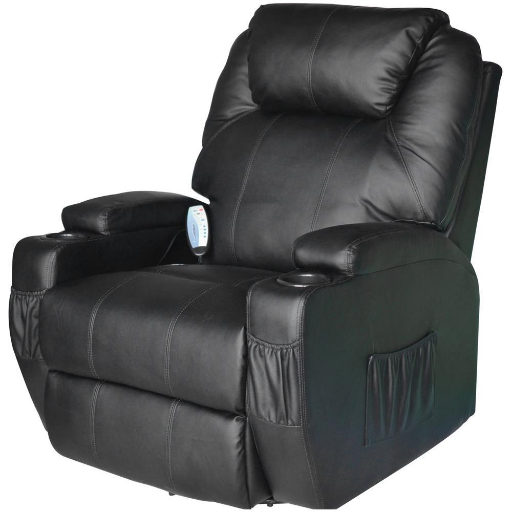 Poltrone Ecopelle Prezzi.Homcom Poltrona Massaggiante Riscaldabile In Ecopelle Nero 84x92x109cm