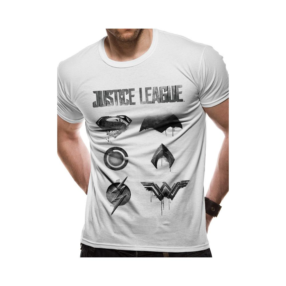 Justice League Movie - Logo And Symbols (T-Shirt Unisex Tg. L)