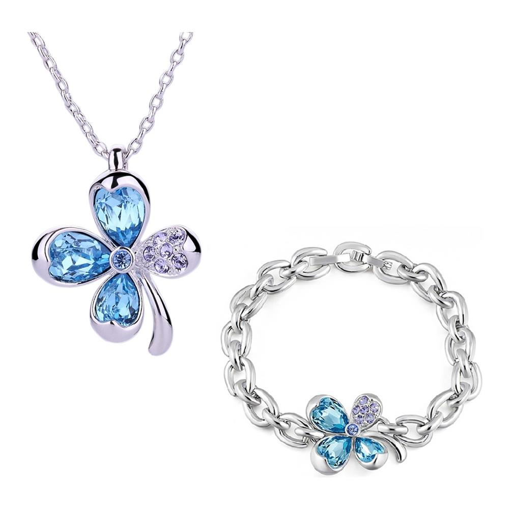685ed83d59d683 Blue Pearls - Set: Collana E Braccialetto Del Trifoglio Blu Cristallo  Swarovski Element - Cry E204 - E100 J - ePRICE