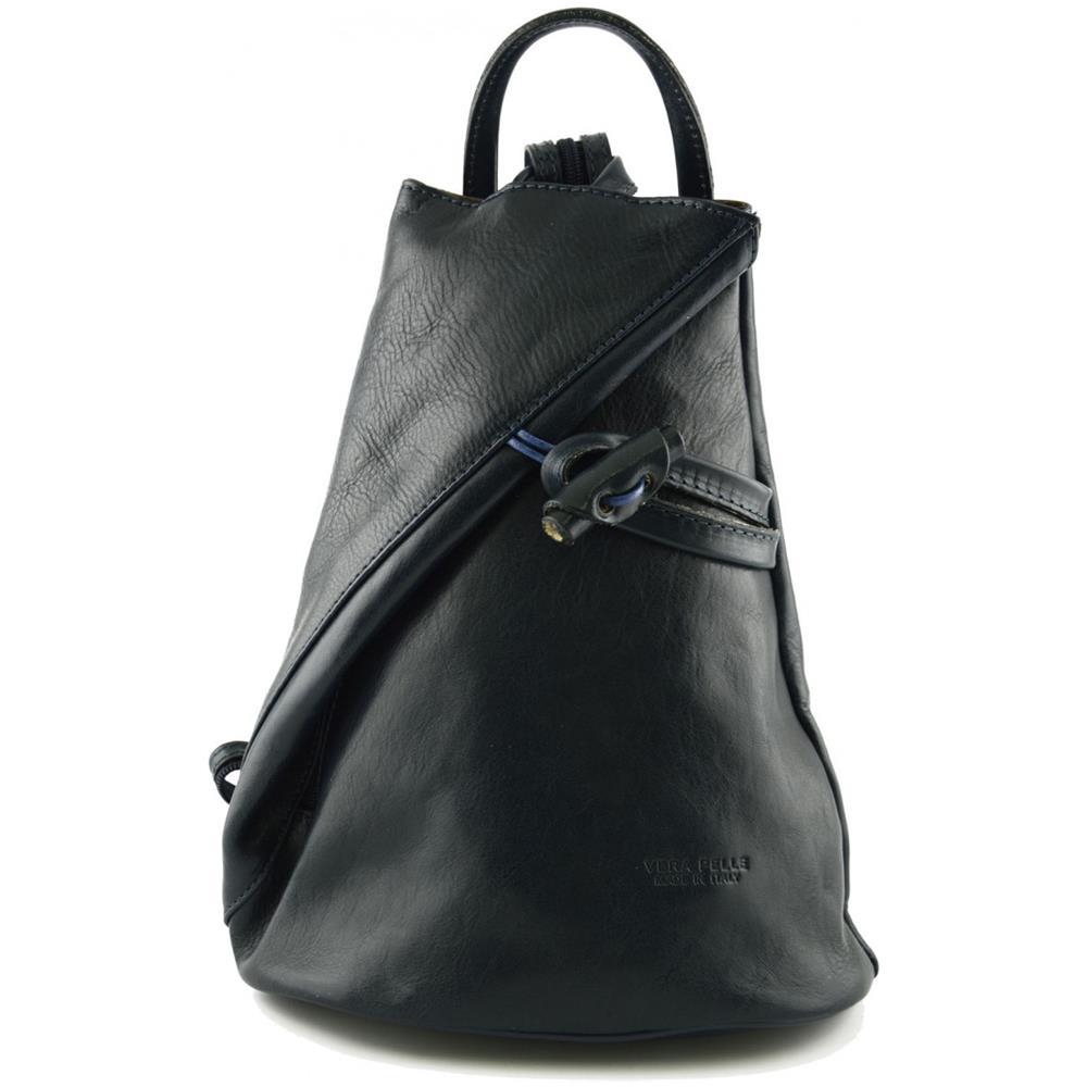 nuovo stile 7c1e0 4407c Dream Leather Bags Zaino In Vera Pelle Per Donna Con Bretelle A Cerniera  Colore Blu Scuro - Pelletteria Toscana Made In Italy - Zaino