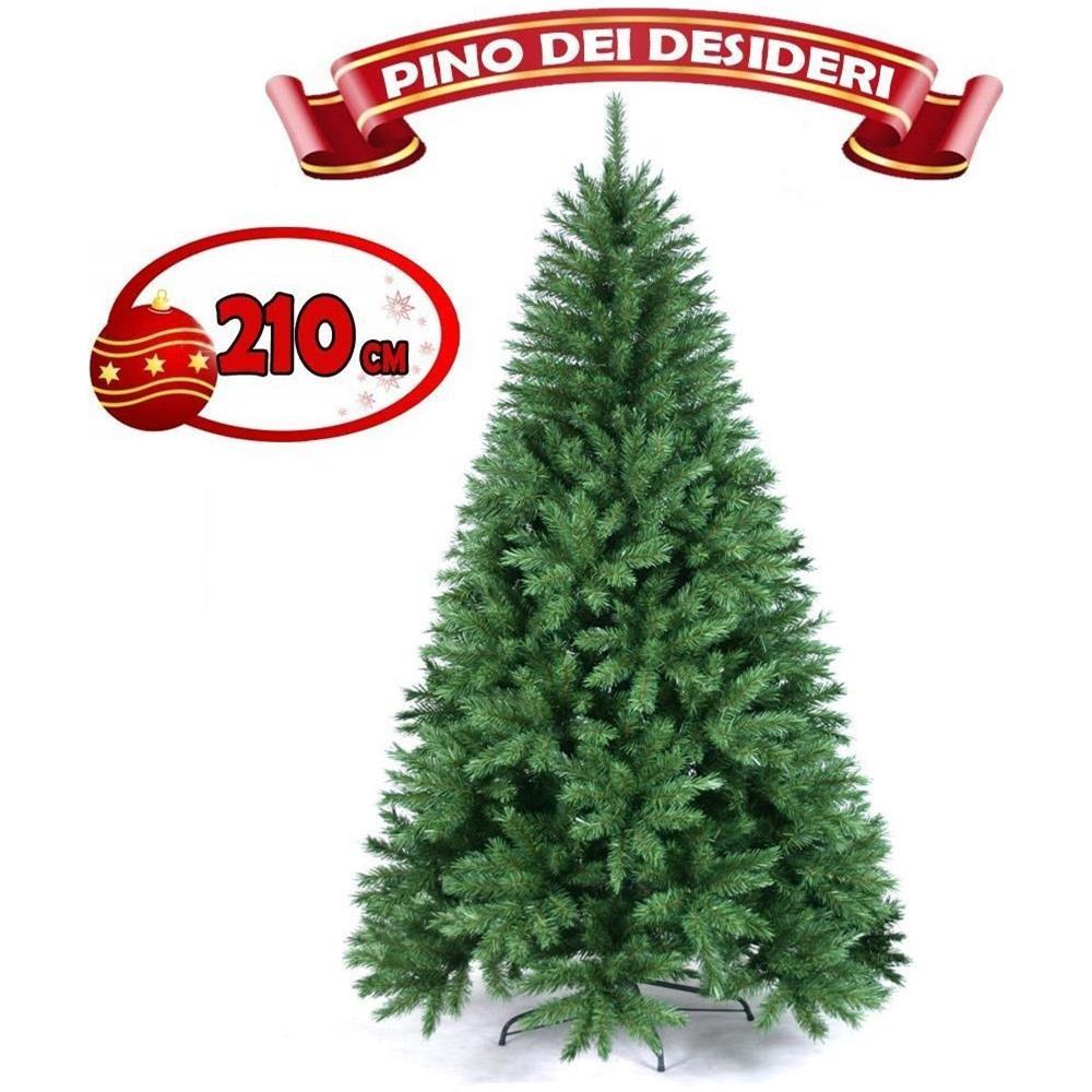 Albero Di Natale 210.Bakaji Albero Di Natale 210 Cm Pino Dei Desideri Verde Folto 975 Rami Base A Croce