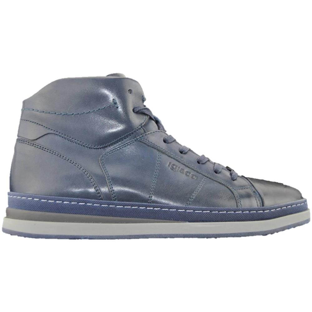 hot sale online 3d283 42343 Igi&co 2134122 Sneakers Scarpe Uomo In Pelle Blu Alte Blu 43