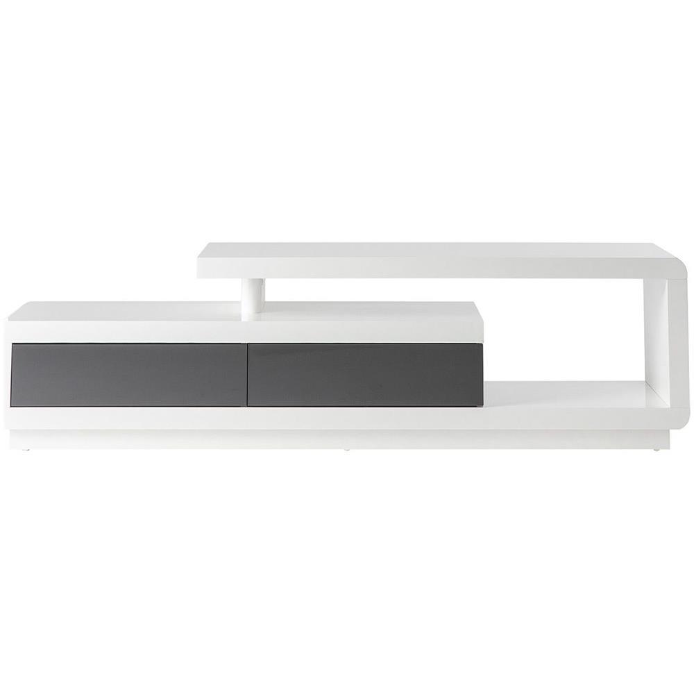 Miliboo Mobili Tv.Miliboo Mobile Tv Design Laccato Bianco Con Cassetti Grigio Etana