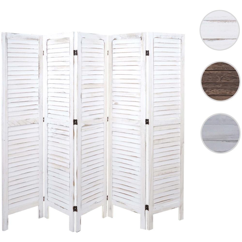 Paravento In Legno Per Esterni mendler paravento divisorio separè decorativo legno paulonia shabby hwc-g30  5 pannelli bianco
